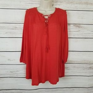 Lucky Brand Coral Tie Front Boho Tunic Top